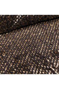 Tissu Fausse fourrure Doudou  Sequins dorés sur fond Noir