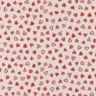 Tissu Toile de Coton aspect lin Cœurs rouges sur fond Beige - Par 10 cm
