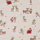 Tissu Toile de Coton aspect lin Père noël et ses rennes sur fond Beige - Par 10 cm