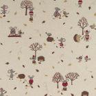 Tissu Toile de Coton aspect lin Hérissons et souris hivernal sur fond Beige - Par 10 cm
