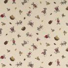 Tissu Toile de Coton aspect lin Hérissons souris et oiseaux sur fond Beige - Par 10 cm