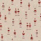 Tissu Toile de Coton aspect lin Pères Noël et balançoires sur fond Beige - Par 10 cm