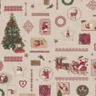 Tissu Toile de Coton aspect lin Sapins traîneaux et motifs de noël sur fond Beige - Par 10 cm