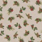 Tissu Toile de Coton aspect lin Houx et pomme de pin sur fond Beige - Par 10 cm