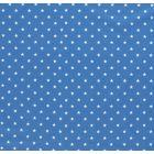 Tissu Jersey Coton Etoiles blanches sur fond Turquoise - Par 10 cm