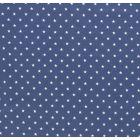 Tissu Jersey Coton Etoiles blanches sur fond Bleu denim - Par 10 cm