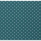 Tissu Jersey Coton Etoiles blanches sur fond Bleu pétrole - Par 10 cm