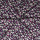 Tissu Maille jersey polyviscose Tâches géométrique grises et violettes sur fond Bleu marine - Par 10 cm