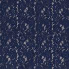 Tissu Dentelle Julia Fleuris sur fond Bleu indigo - Par 10 cm