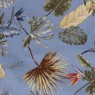 Tissu Bengaline satiné Fleurs de strelitzia et feuillages sur fond Bleu ciel - Par 10 cm