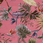 Tissu Bengaline satiné Fleurs de strelitzia et feuillages sur fond Rose bonbon - Par 10 cm