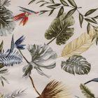 Tissu Bengaline satiné Fleurs de strelitzia et feuillages sur fond Blanc cassé - Par 10 cm