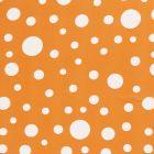 Tissu  Mousseline Pois blanc différentes tailles sur fond Orange - Par 10 cm