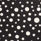 Tissu  Mousseline Pois blanc différentes tailles sur fond Noir - Par 10 cm