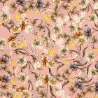 Tissu Crêpe lisse Fleurs des champs colorées sur fond Rose poudré - Par 10 cm