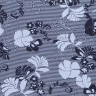 Tissu Jersey Viscose Fleurs et rayures bleu marine sur fond Bleu - Par 10 cm