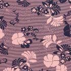 Tissu Jersey Viscose Fleurs et rayures bleu marine sur fond Rose - Par 10 cm