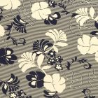 Tissu Jersey Viscose Fleurs et rayures bleu marine sur fond Jaune - Par 10 cm