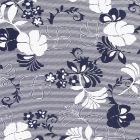 Tissu Jersey Viscose Fleurs et rayures bleu marine sur fond Blanc - Par 10 cm