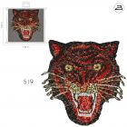 Ecusson Thermocollant Patch Tigre Sequins Rouge et Or XL