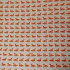 Tissu Toile Coton Beige Renards Orange x10cm