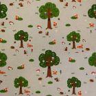 Tissu Toile Coton Beige Forêt et animaux x10cm