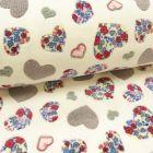 Tissu Doudou Blanc Cœurs gris et fuchsia - Par 10 cm