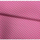 Tissu Coton imprimé Rose bonbon Pois 8 mm Blancs - Par 10 cm
