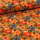 Tissu Jersey Coton Fleurs seventies sur fond Jaune curcuma - Par 10 cm