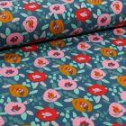 Tissu Jersey Coton Fleurs seventies sur fond Bleu ancien - Par 10 cm