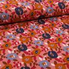 Tissu Jersey Coton Fleurs seventies sur fond Rose - Par 10 cm