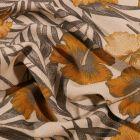 Tissu Toile Coton Hibiscus jaunes sur fond Naturel - Par 10 cm