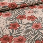 Tissu Toile Coton Hibiscus bordeaux sur fond Naturel - Par 10 cm