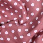 Tissu Coton imprimé Pois blanc sur fond Vieux rose - Par 10 cm