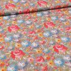 Tissu Coton imprimé Rose et pâquerettes sur fond Gris - Par 10 cm
