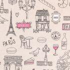Tissu Toile Coton Paris mon amour sur fond Beige - Par 10 cm