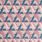 Tissu Toile Coton Motifs géométriques Bleu canard, roses et mauve sur fond Beige - Par 10 cm