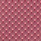 Tissu Toile de Coton Eventails Ecrus sur fond Prune - Par 10 cm