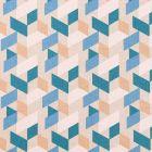 Tissu Toile de Coton Formes Géométriques bleues, blanches et oranges sur fond Beige - Par 10 cm
