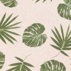 Tissu Toile Coton Feuilles de Palmiers Vertes sur fond Beige - Par 10 cm