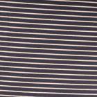 Tissu Sweat léger Rayures blanc cassé et lurex doré sur fond Bleu denim - Par 10 cm