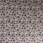 Tissu Jersey Modal Feuilles et fleurs sur fond Gris - Par 10 cm