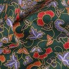 Tissu Coton Japonisant Fleurs et petits pois sur fond Vert - Par 10 cm
