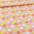 Tissu Coton imprimé Lemon sur fond Gris - Par 10 cm