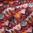 Tissu Coton imprimé LittleBird Tulipes Pop sur fond Bordeaux - Par 10 cm