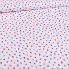 Tissu Coton imprimé Petits bouquets de fleurs et papillons sur fond Blanc - Par 10 cm