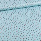 Tissu Coton imprimé Petits bouquets de fleurs et papillons sur fond Bleu - Par 10 cm