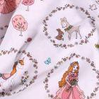 Tissu Coton imprimé Couronnes de fleurs princesses et licornes sur fond Blanc - Par 10 cm