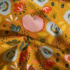 Tissu Coton enduit Fleurs et fruits vintage sur fond Jaune - Par 10 cm