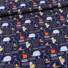 Tissu Coton imprimé Une bouteille à la mer sur fond Bleu marine - Par 10 cm
